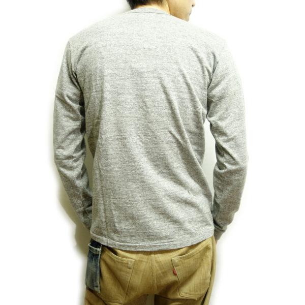 サンプル商品 吊り編み天竺長袖Tシャツ(杢グレー)-3